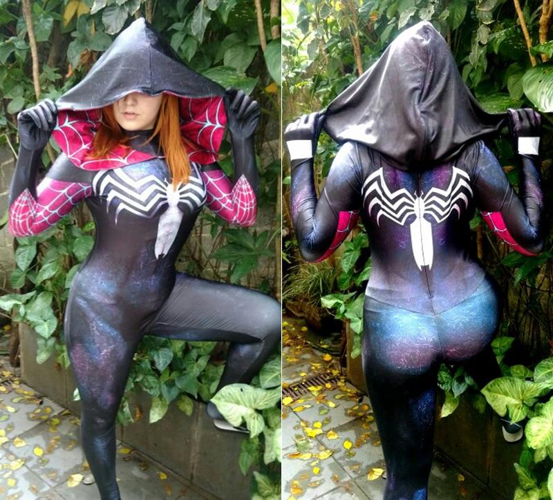 Gwenom Cosplay Costume woder Woman Spiderman zentai bodysuit Symbiote Gwen Stacy Spiderman Superhero Costume 3D Printed Fullbody