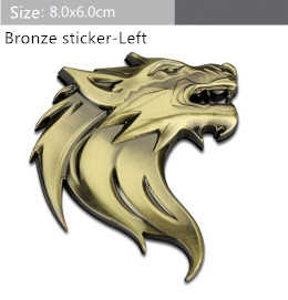 Free shipping Chrome Sticker Car Front Hood Grill Badge Grille turning logo Wolf head Em ...