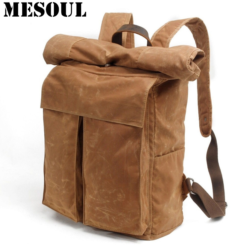 Men Large Capacity Travel Backpack Bag Waterproof Oil Wax Canvas Laptop Backpack Vintage College Style Casual