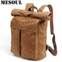 Men Large Capacity Travel Backpack Bag Waterproof Oil Wax Canvas Laptop Backpack Vintage College Style Casual