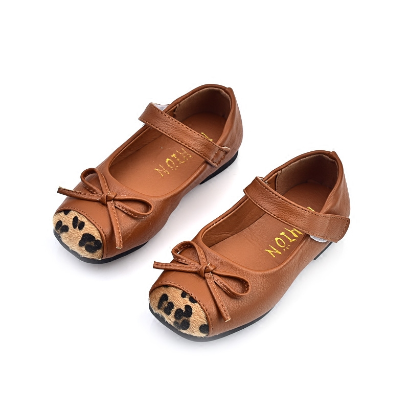 Children Girl Leopard Leather Shoes With Bow Kids Baby Princess Shoes Springautumn Flat Fashion font b