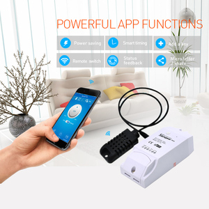 Image 3 - Умный Wi Fi переключатель SONOFF TH16, монитор температуры и влажности с датчиком Am2301 Ds18b20 Si7021, водонепроницаемый зонд Google Home