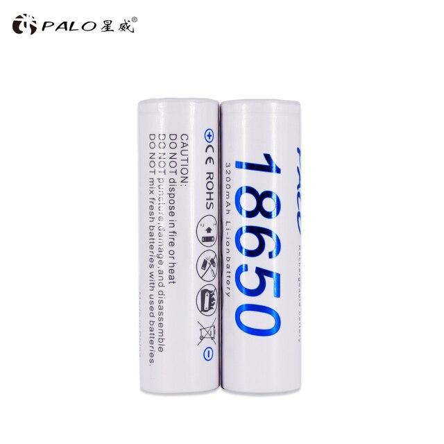 PALO 2PCS 18650 3.7v 3200mah rechargeable battery reachargeable batteries 3200mah li ion 18650 battery