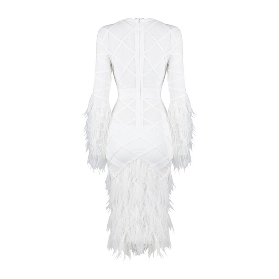 Plumes Party Moulante Femmes Bandage O Cou Celebrity Robes Blanc Robe Longue D'été Sexy Nouvelles 2018 Manches Ybfg76y