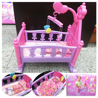 Creative Baby Girls Pretend Play Furniture Toys Dolls Bed with Quilt Pillow Mobile Bells 2 Milk Bottles Child Gift Toys Crib Set