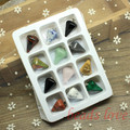 WHOLESALE 12pcs Mix Multi-style Pendulum Shape Natural Stone Charms Finding Pendants 16mm*24mm (W02745)