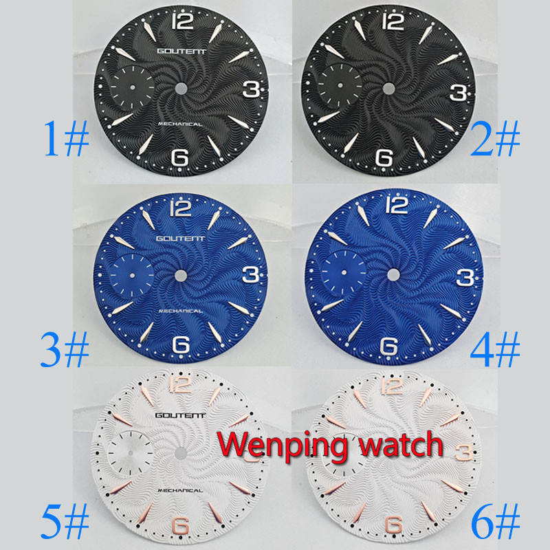 Goutent 36.8mm watch dial Sterile Grain face watch accessories fit eta 6497 Asia <font><b>st3600</b></font> hand winding Mechanical movement P822 image