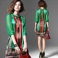 2016 Летнее Платье Женщины Новый Европейский Мода Элегантные Зеленый Узор Печати Ретро Старинные Платья Для Леди Плюс Размер шелк
