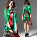 2016 Summer Dress Women Brand New European Fashion Elegant Pattern Green Print Retro Vintage Dresses For Lady Plus Size silk