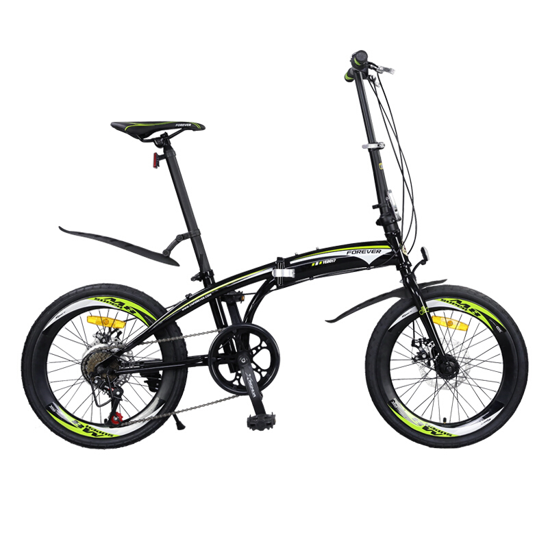 20 inch 7 Speed Foldable bicycle Unisex Double Disc brake High carbon steel Bow design frame Folding bike