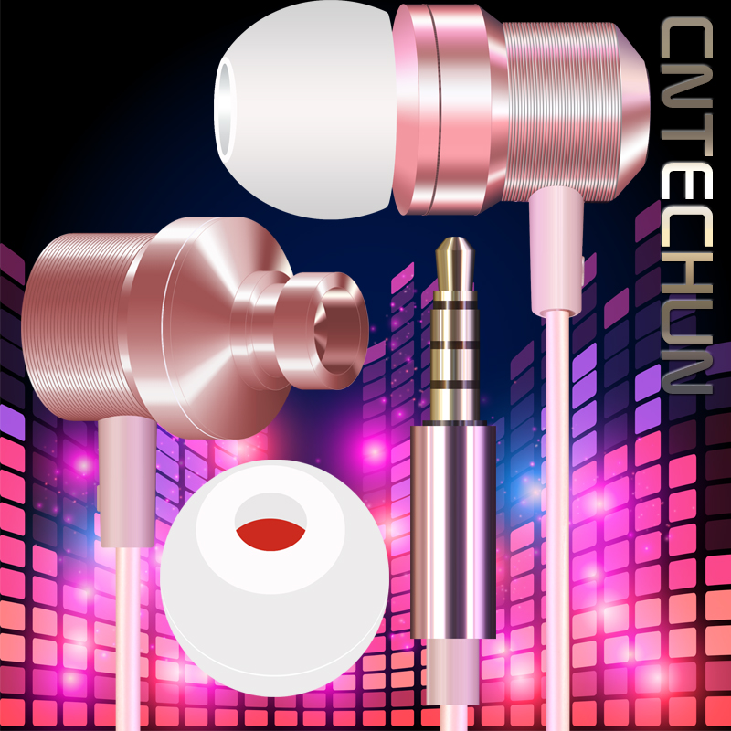 CNTECHUN Heavy Bass Stero Luxe earphone Metal-crafted refined look Microphone MP3 Music EarPhone 3.5mm Port whit 4 Colors