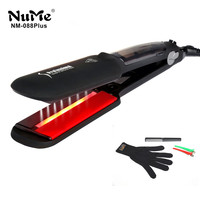 Professional Ceramic Steam Hair Straightener Infrared Heating Flat Iron LED Display Curling Iron 2 Inch Styling