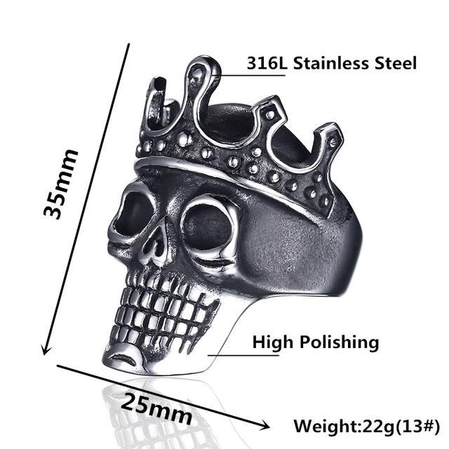 STAINLESS STEEL CROWN SKULL RINGS