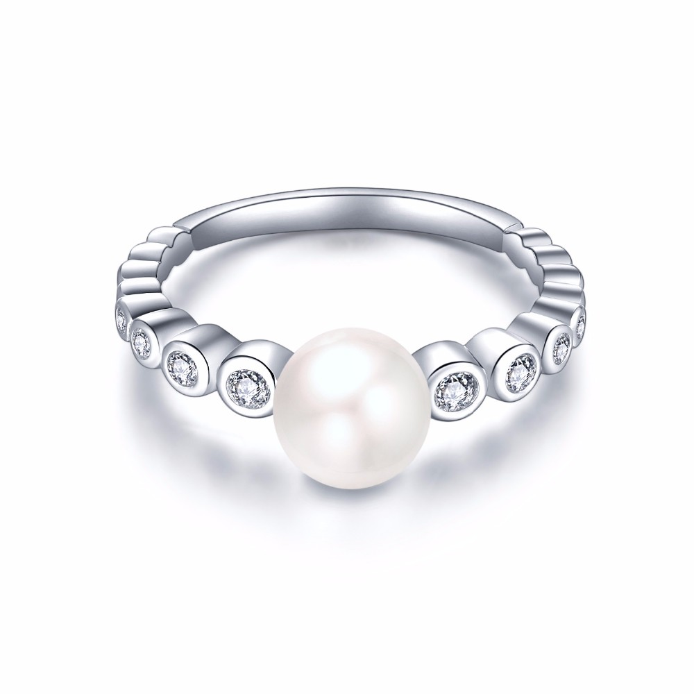 white gold rings for women and freshwater pearl  rings NR55230A (2)