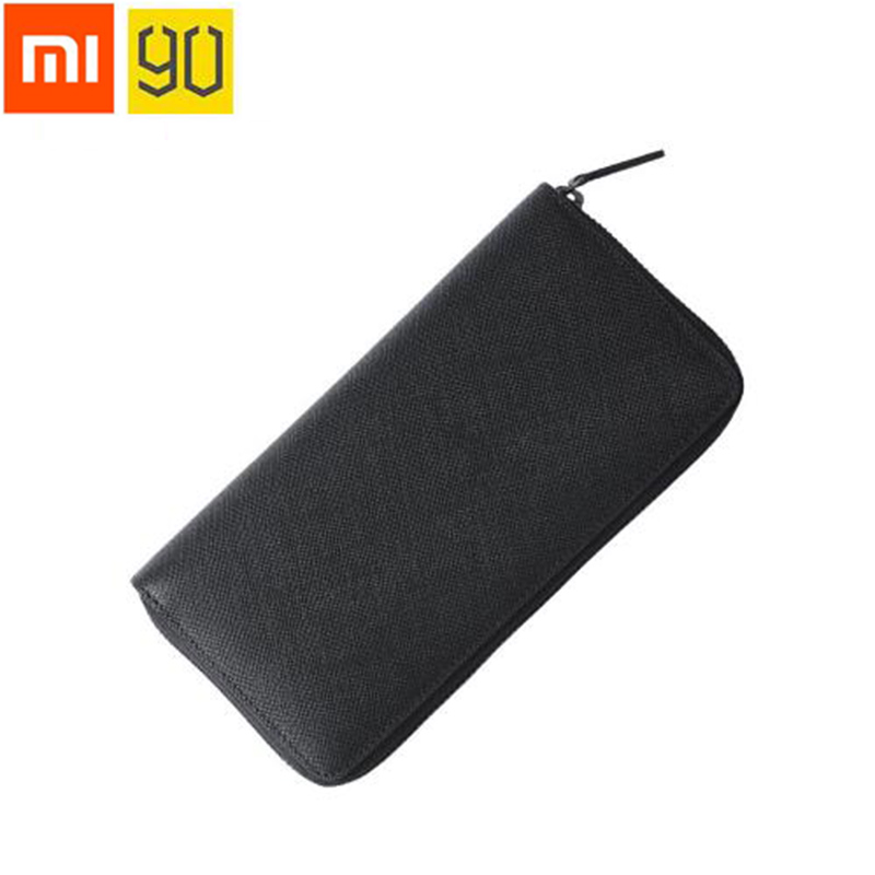 High quality Xiaomi 90 Mens Business Wallet Card Holder Purse Classic Long Wallet Cowhide Leather Black