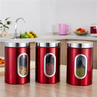 Creative stainless steel storage tank kitchen snacks sealed container red tea sugar box with hand gifts Glss container