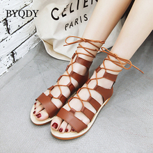BYQDY Women Bohemia Sandals Gladiator Flat Peep-Toe Cross Strap Sandals Shoes Roman Lace Up Sandals Plus Size 34-48 Lady Shoes women flat shoes bandage bohemia leisure lady sandals peep toe outdoor sandals 0411 drop shipping