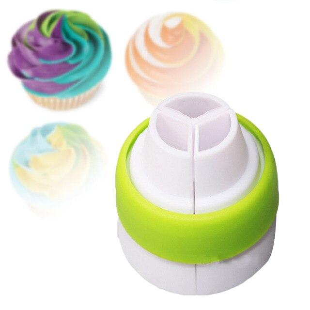 Saco de Confeiteiro Piping Bico 1 pc Conversor Tri-cor Creme Acoplador Bolo Ferramentas De Decoração Para Cupcake Fondant de Biscoito