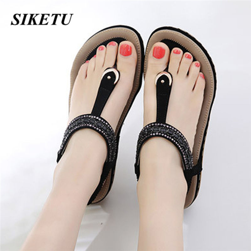 Rhinestone Sandals Shoes Woman Single-Shoes Comfortable Fashion Summer New Casual Flat