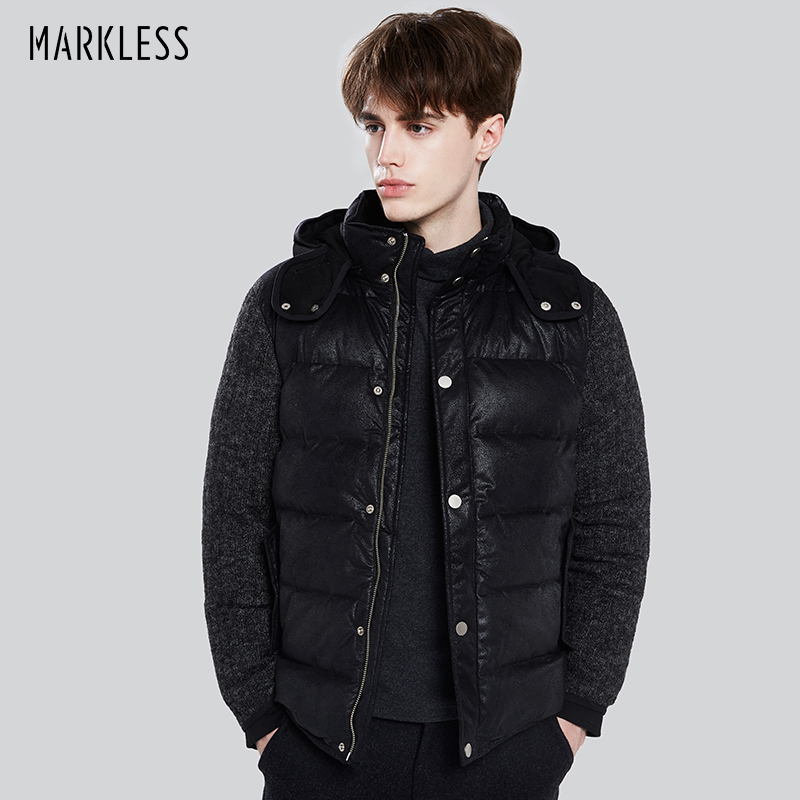 Markless Men Thick Down Jacket Brand Clothing Casual Knitted Sleeve Patchwork Seamless Jacket Down Fashion Winter Coats YRA7317M