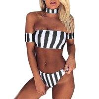 2017 Womens Push Up Bikini Set Padded Swimwear Stripped Beachwear Wrapped Swimsuit Bathing Suit Summer Swimming