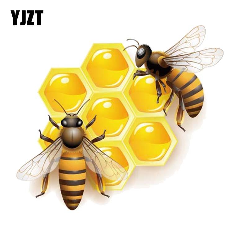 YJZT 15.4CM*13.7CM Bees That Eat Honey PVC Car Sticker Decal 12-300573