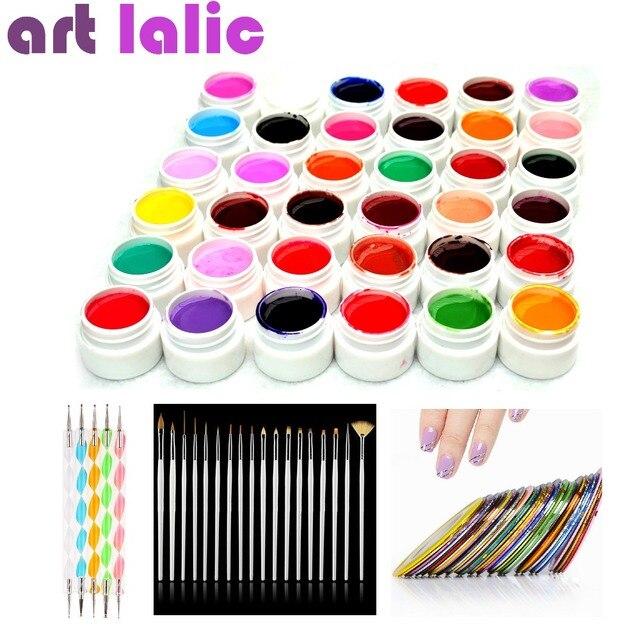 36 Color UV Gel DIY Manicure Set Nail Art Tools Brushes Tips Dotting Polish Striping Tape Kit