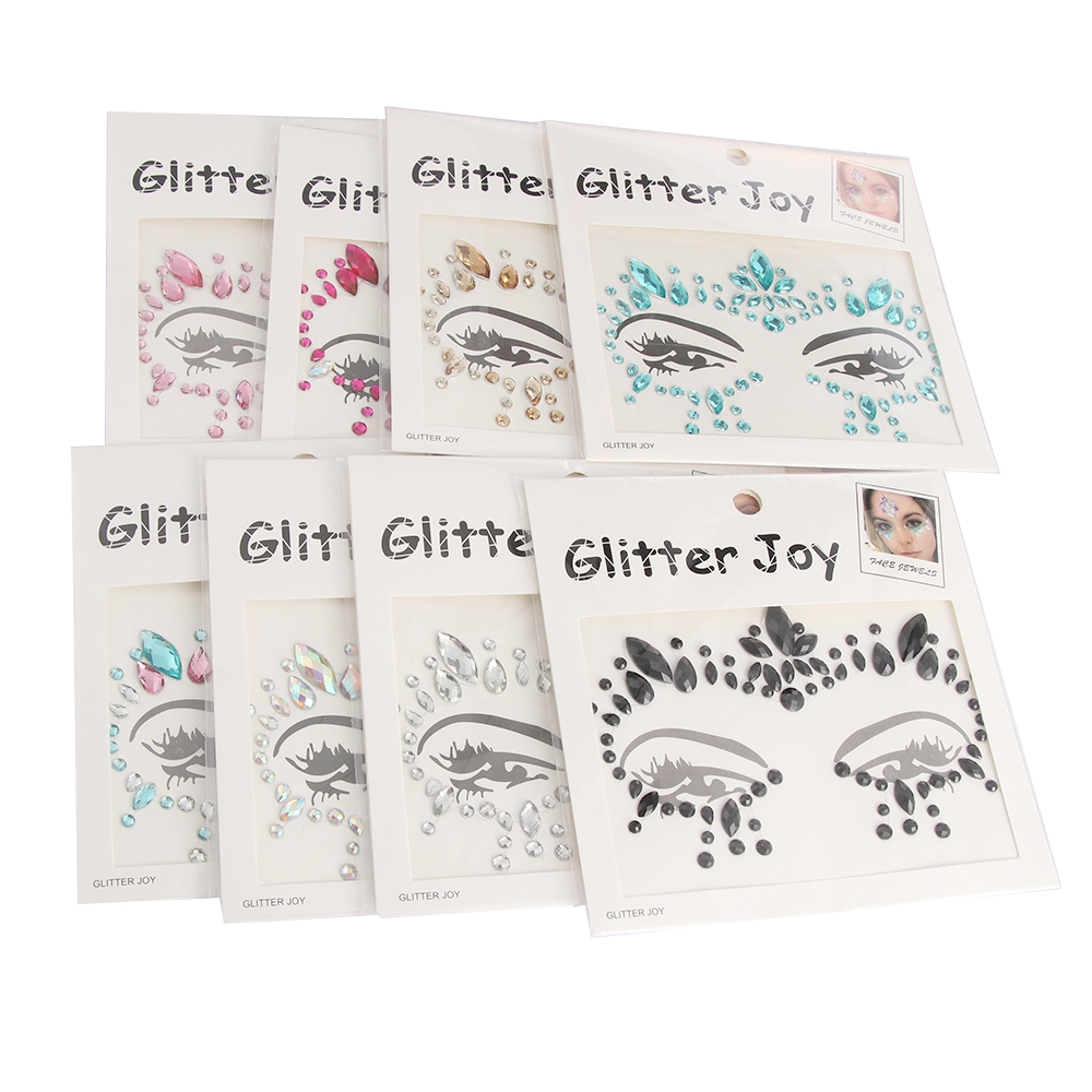 1pc Adhesive Face Gems Rhinestone Temporary Tattoo Jewels Festival Party Body Glitter Stickers Makeup Temporary Tattoos Stickers