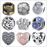 925 Sterling Silver Beads Charms Glue Heart Paw Flower Bead Fit Original Pandora Charms Bracelet Bangle