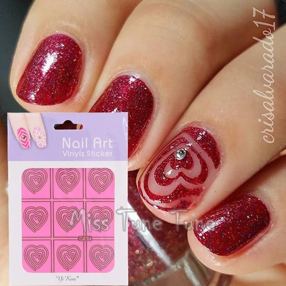1 Sheet Pink Heart Swirl Nail Vinyls Nail Art Stencils Stickers Tip ...