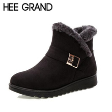 HEE GRAND Women Warm Ankle Boots Faux Fur Winter Womens Waterproof Anti Slip Ankle Bootie Warm Fur Footwear Shoes Booten XWX7023