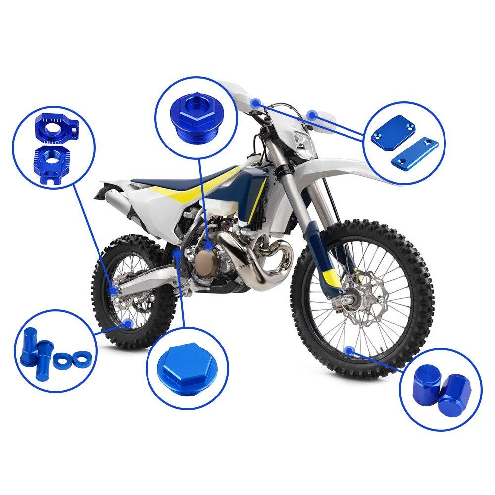 Motorcycle Accessories Brake Clutch Reservoir Cover Cap Axle Block For Husqvarna TE FE TX 125 150