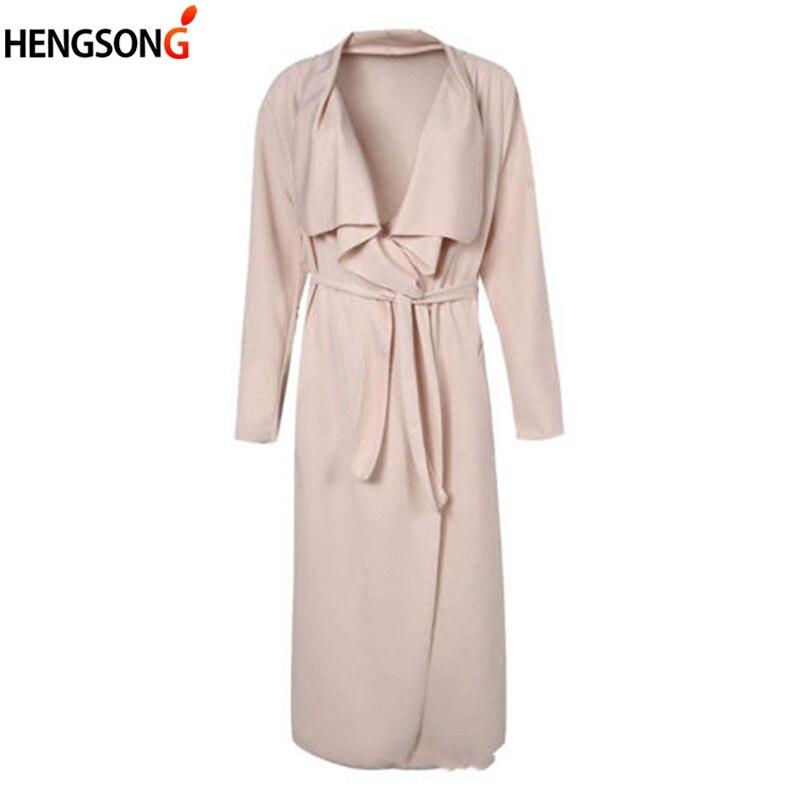 2018 Autumn Women Wide Lapel Belt Pocket Coat Fashion Outerwear Pocket With Sashes Women Long Jacket Coat