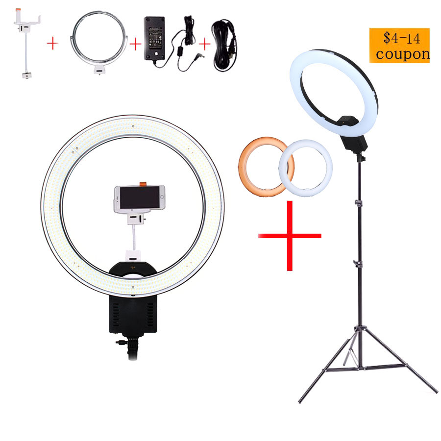 NanGuang CN-R640 19Photo/Video/Studio/phone 640 LED 5600K Camera Macro Ring Light Lamp for Makeup Photography With tripod Stand latour 2400 led photography lighting dms 5600k studio video camera stage light lamp