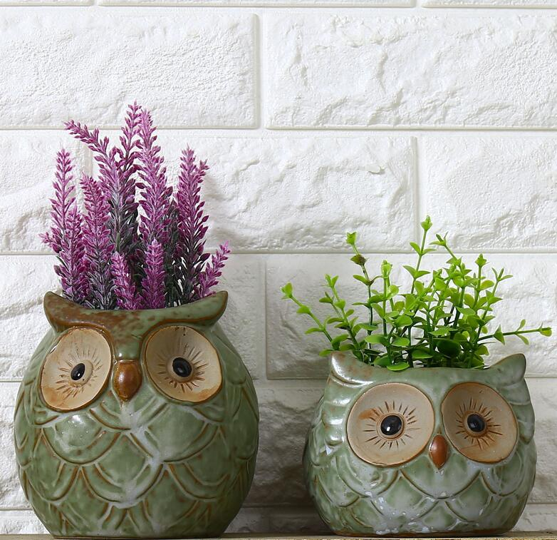 Ceramic Cartoon Owl Flowerpot Mini Cute Animal Shaped