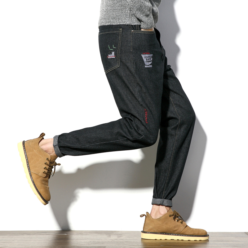 Autumn New Jeans Men Japan Style Letter&Floral Embroidery Mens Casual Jeans Solid Plus Size Black Hot Denim Mens Trousers 5XL-M