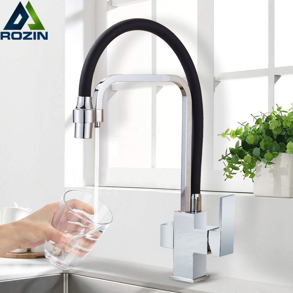 Chrome Purification Kitchen Sink Faucet Deck Mount 3 Way 360 Swivel Pure Water Kitchen Sink Faucet Mixer Tap Drinking Water Tap bagnolux wholesale new osmosis 100% copper swivel square style sink mixer drinking water kitchen faucet 3 way water filter tap
