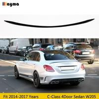 Carbon Fiber rear trunk spoiler For Benz C Class 4Door Sedan C180 C200 C220 C250 2014 2017 year W205 C63 AMG Car spoiler Wing
