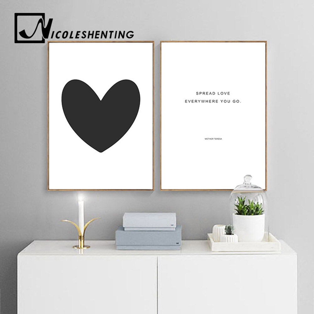 black white heart canvas nursery posters and prints. Black Bedroom Furniture Sets. Home Design Ideas