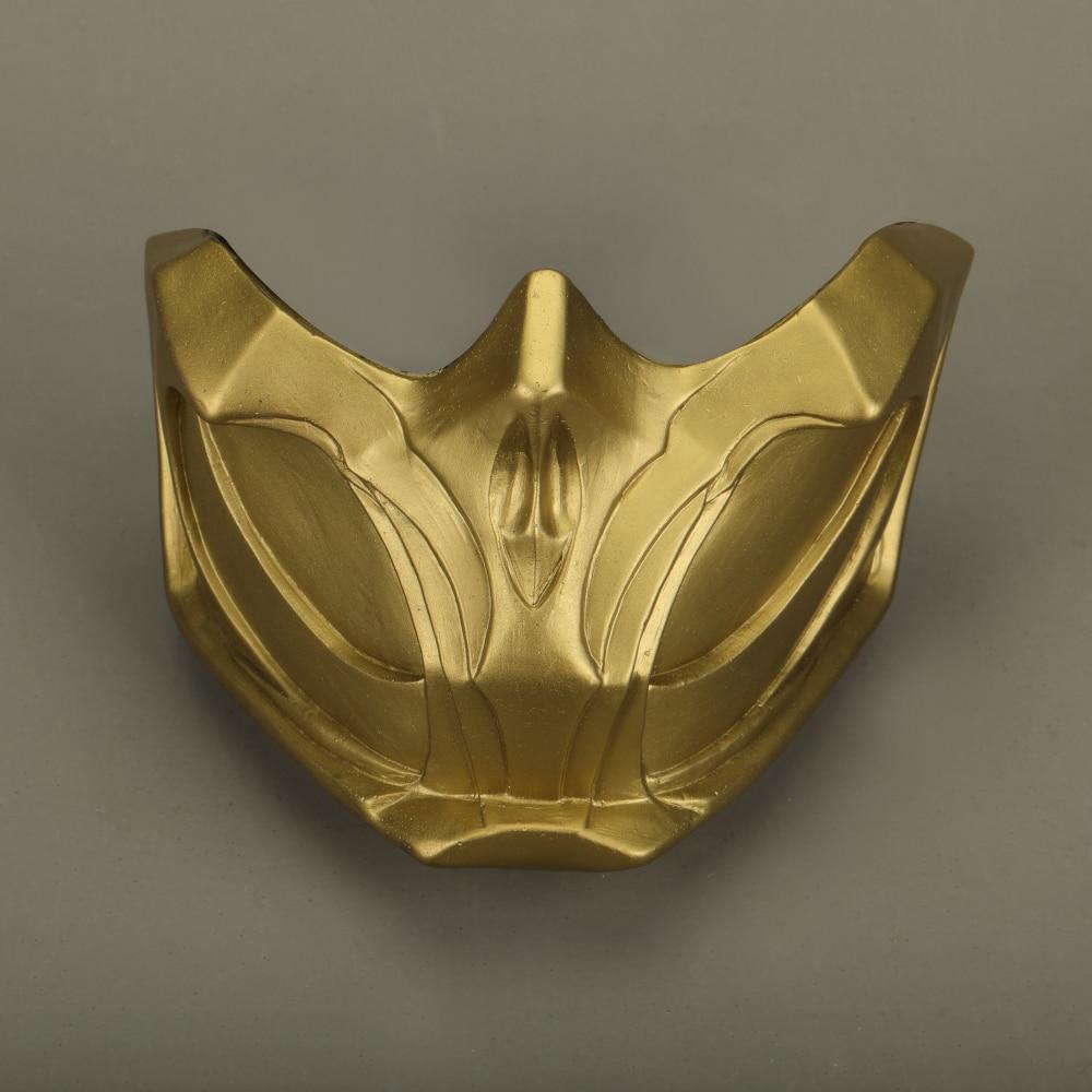 2019 New Mortal Kombat X Scorpion Hanzo Hasashi Sandal Wood Mask Half Face PVC Masks Adult Men Cosplay Costumes Halloween Mask (2)