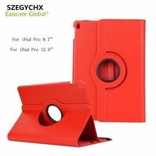 """SZEGYCHX Para iPad Pro 9.7 pulgadas A1673 A1674 A1675/Pro 12.9 """"caso 360 Rotación PU Cubierta Elegante de Cuero con la Función Del Soporte y de regalo"""