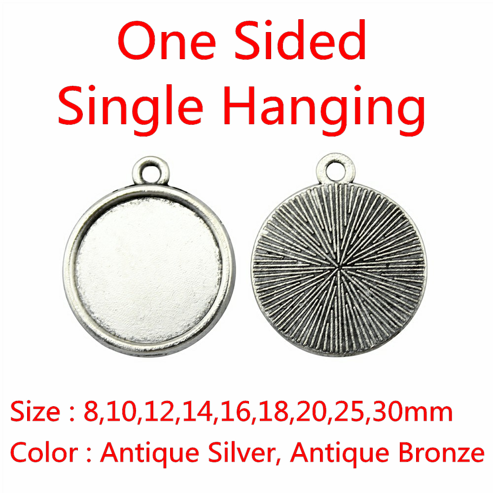30pcs Fit 8/10/12/14/16/18/20/25/30mm One Sided Single Hanging Simple Zinc Alloy Cameo Cabochon Base Setting For Jewelry DIY free shippping brand new genuine 100