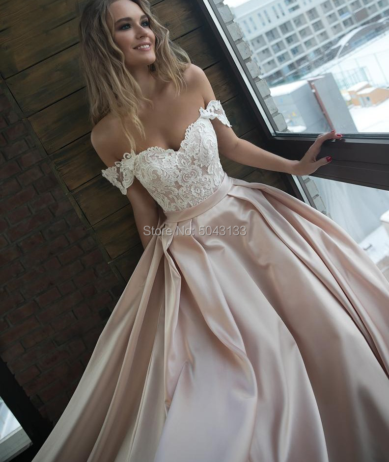 Image 4 - Sexy Off The Shoulder Satin Wedding Dresses Romantic Lace Applique Bridal Gowns with Sleeves Chapel Train Bride Dress 2019-in Wedding Dresses from Weddings & Events
