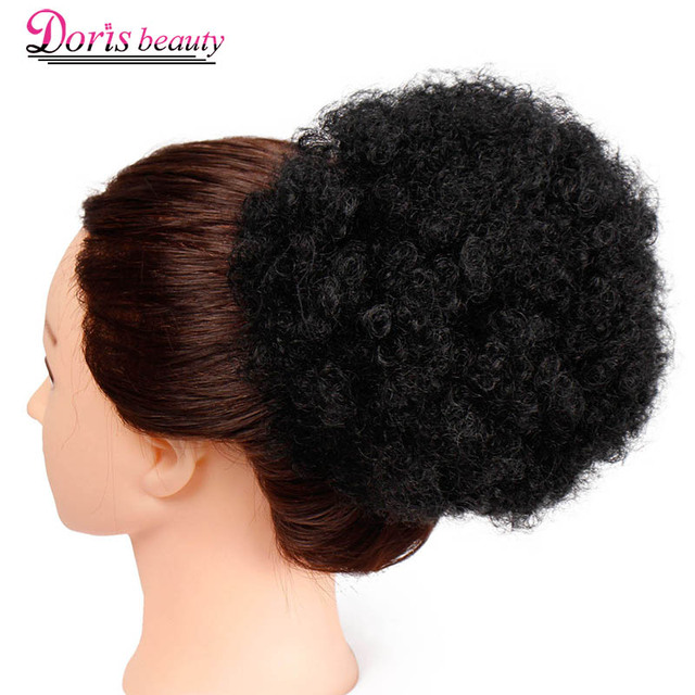 High Puff Afro Curly Ponytail Extensions Fake Drawstring Short Clip In Synthetic