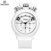 MEGIR Brand Men Chronograph Multifunction Silicone Solid Color Watch Military Display Date Sport Wristwatch Relogio Masculino
