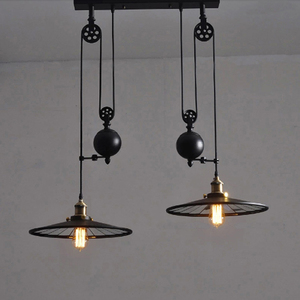 Image 4 - Loft Vintage Hanglampen Ijzer Katrol Lamp Keuken Home Decoratie Met E27 Edison Lamp Zwart Geschilderd Katrol Hanglamp