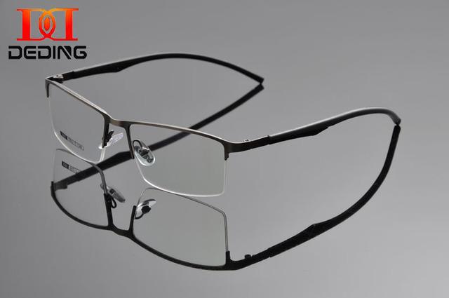 Tent DEDING nueva media sin rebordes gafas w / goma temple hombre gafas óptico del Metal montura de gafas de negocios miopía del ojo del marco GlassesDD1302