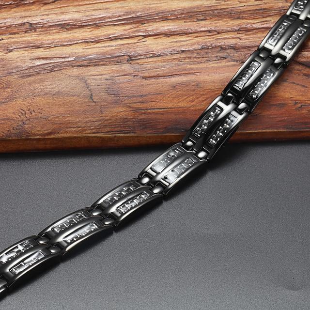 Купить мужской браслет welmag черный из титана и углеродного волокна