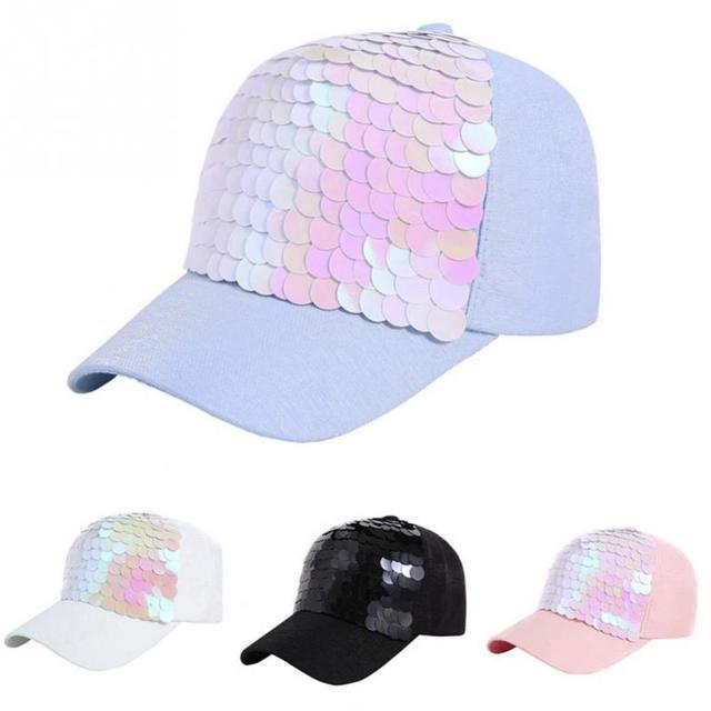 2018 Musim Panas Topi Bisbol Wanita Pink Ikan Skala Payet Topi Kasual Snapback  Topi untuk Gadis e57d18980c
