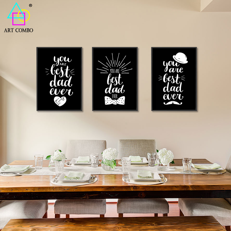 Modern white black lovely words paintings on canvas wall for Home decor outlet 63125